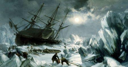 Barcos de la expedición perdida de Sir John Franklin atrapados en el hielo