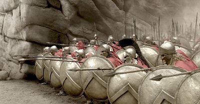 La formación hoplítica de la falange en la Batalla de las Termópilas