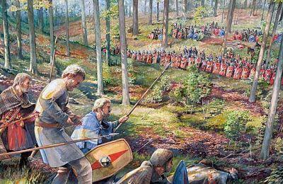 Emboscada en la batalla del bosque de Teutoburgo
