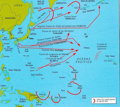 Mapa de la batalla de Midway